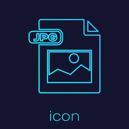Turquoise line JPG file document. Download image button icon isolated on blue background. JPG file symbol. Vector Illustration
