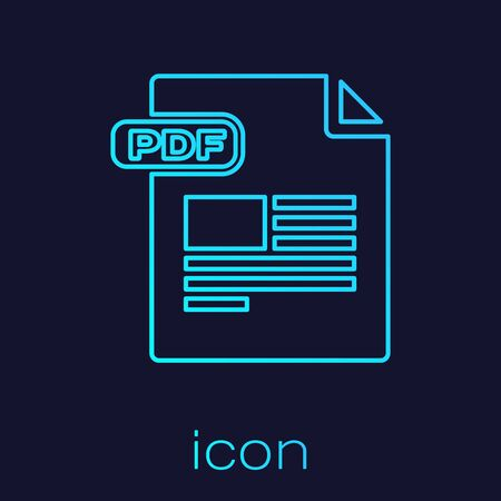 Turquoise line PDF file document. Download pdf button icon isolated on blue background. PDF file symbol. Vector Illustration