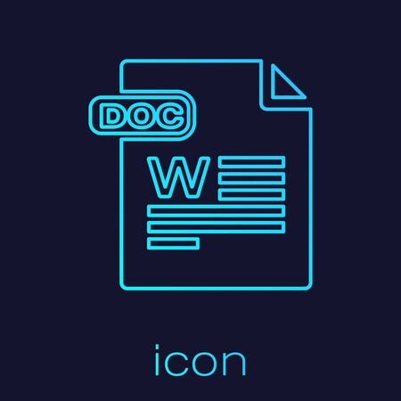 Turquoise line DOC file document. Download doc button icon isolated on blue background. DOC file extension symbol. Vector Illustration Ilustração