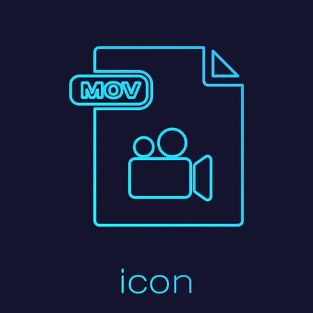 Turquoise line MOV file document. Download mov button icon isolated on blue background. MOV file symbol. Audio and video collection. Vector Illustration Ilustração