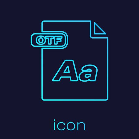 Turquoise line OTF file document. Download otf button icon isolated on blue background. OTF file symbol. Vector Illustration