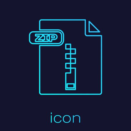 Turquoise line ZIP file document. Download zip button icon isolated on blue background. ZIP file symbol. Vector Illustration  イラスト・ベクター素材