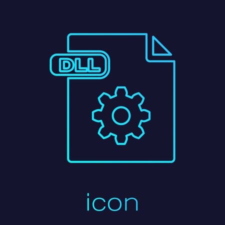 Turquoise line DLL file document. Download dll button icon isolated on blue background. DLL file symbol. Vector Illustration