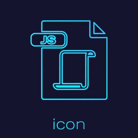 Turquoise line JS file document. Download js button icon isolated on blue background. JS file symbol. Vector Illustration  イラスト・ベクター素材