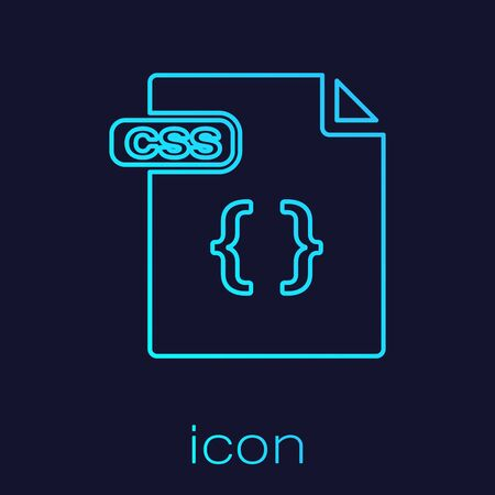 Turquoise line CSS file document. Download css button icon isolated on blue background. CSS file symbol. Vector Illustration