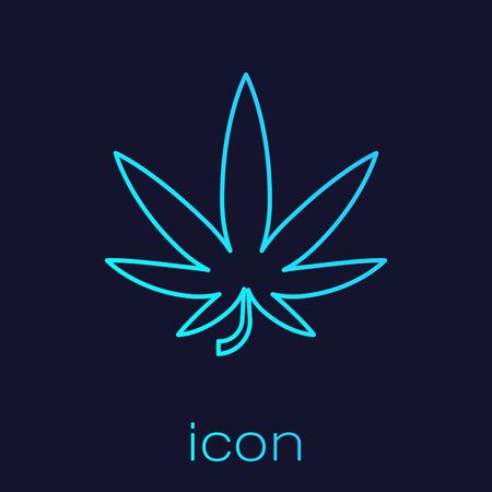Turquoise line Medical marijuana or cannabis leaf icon isolated on blue background. Hemp symbol. Vector Illustration