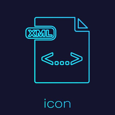 Turquoise line XML file document. Download xml button icon isolated on blue background. XML file symbol. Vector Illustration  イラスト・ベクター素材
