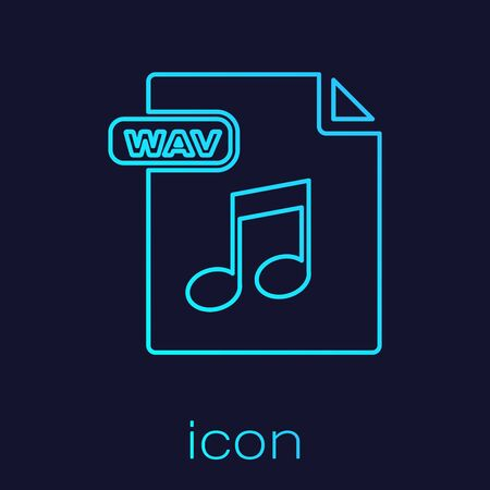 Turquoise line WAV file document. Download wav button icon isolated on blue background. WAV waveform audio file format for digital audio riff files. Vector Illustration