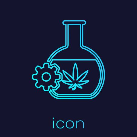 Turquoise line Chemical test tube with marijuana or cannabis leaf icon isolated on blue background. Research concept. Laboratory CBD oil concept. Vector Illustration