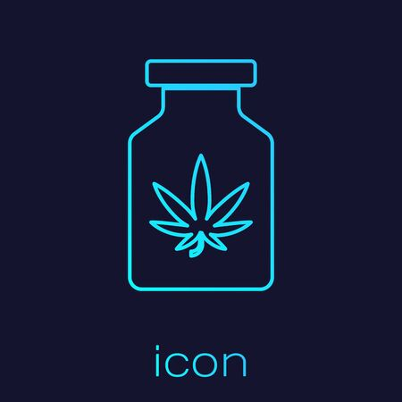 Turquoise line Medical bottle with marijuana or cannabis leaf icon isolated on blue background. Mock up of cannabis oil extracts in jars. Vector Illustration