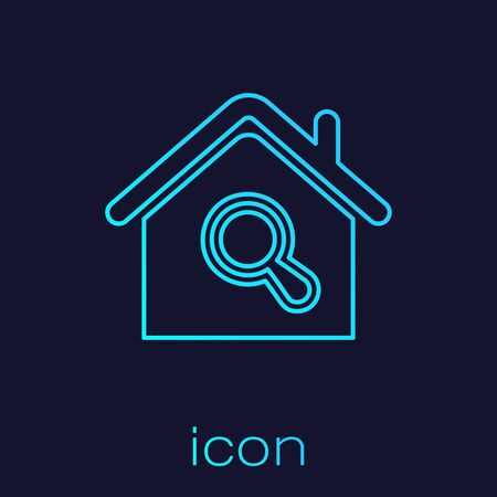 Turquoise line Search house icon isolated on blue background. Real estate symbol of a house under magnifying glass. Vector Illustration