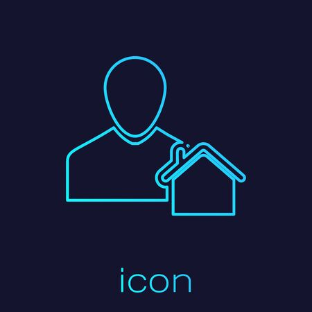 Turquoise line Realtor icon isolated on blue background. Buying house. Vector Illustration