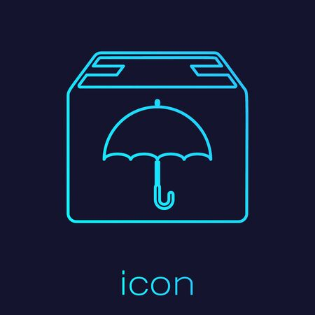 Turquoise line Delivery package with umbrella symbol icon isolated on blue background. Parcel cardboard box with umbrella sign. Logistic and delivery. Vector Illustration  イラスト・ベクター素材