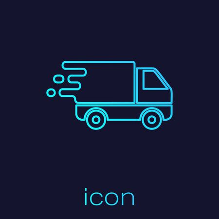 Turquoise line Delivery truck in movement icon isolated on blue background. Fast shipping delivery truck. Vector Illustration