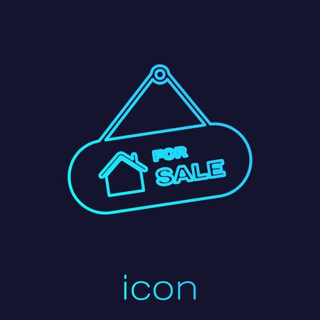 Turquoise line Hanging sign with text For Sale icon isolated on blue background. Signboard with text For Sale. Vector Illustration  イラスト・ベクター素材