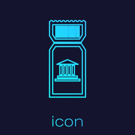Turquoise line Museum ticket icon isolated on blue background. History museum ticket coupon event admit exhibition excursion. Vector Illustration 일러스트