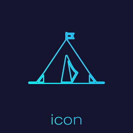 Turquoise line Tourist tent with flag icon isolated on blue background. Camping symbol. Vector Illustration 矢量图像
