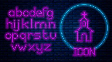 Glowing neon Church building icon isolated on brick wall background. Christian Church. Religion of church. Neon light alphabet. Vector Illustration Standard-Bild - 128759918