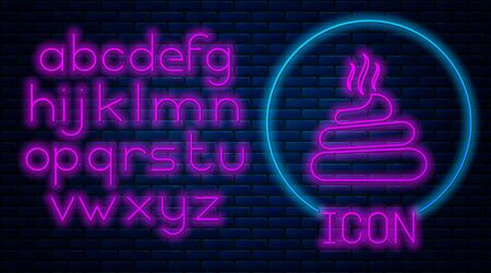 Glowing neon Shit icon isolated on brick wall background. Neon light alphabet. Vector Illustration