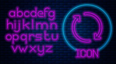 Glowing neon Refresh icon isolated on brick wall background. Reload symbol. Rotation arrows in a circle sign. Neon light alphabet. Vector Illustration Ilustração