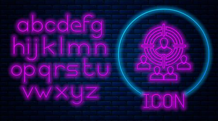Glowing neon Marketing target strategy concept icon isolated on brick wall background. Aim with people sign. Neon light alphabet. Vector Illustration Ilustração