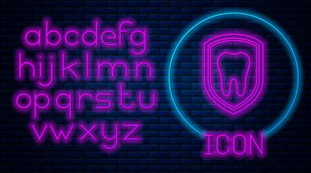 Glowing neon Dental protection icon isolated on brick wall background. Tooth on shield  icon. Neon light alphabet. Vector Illustration
