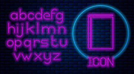 Glowing neon Book icon isolated on brick wall background. Neon light alphabet. Vector Illustration Stock Illustratie