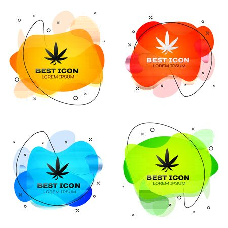 Black Medical marijuana or cannabis leaf icon isolated on white background. Hemp symbol. Set abstract banner with liquid shapes. Vector Illustration Ilustração