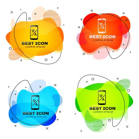 Black Online translator icon isolated on white background. Foreign language conversation icons in chat speech bubble. Translating concept. Set abstract banner with liquid shapes. Vector Illustration