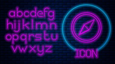 Glowing neon Wind rose icon isolated on brick wall background. Compass icon for travel. Navigation design. Neon light alphabet. Vector Illustration Standard-Bild - 128755571