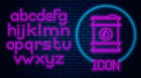 Glowing neon Barrel oil icon isolated on brick wall background. Neon light alphabet. Vector Illustration
