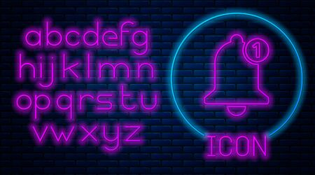 Glowing neon Bell icon isolated on brick wall background. New Notification icon. New message icon. Neon light alphabet. Vector Illustration Ilustração