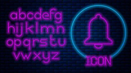 Glowing neon Ringing bell icon isolated on brick wall background. Alarm symbol, service bell, handbell sign, notification symbol. Neon light alphabet. Vector Illustration