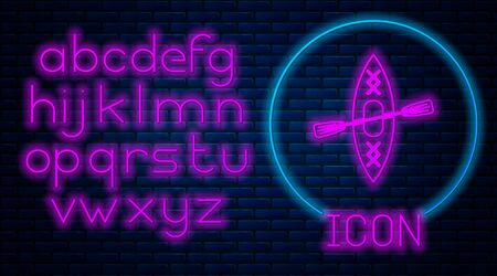 Glowing neon Kayak and paddle icon isolated on brick wall background. Kayak and canoe for fishing and tourism. Outdoor activities. Neon light alphabet. Vector Illustration