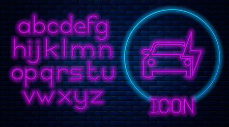 Glowing neon Electric car and electrical cable plug charging icon isolated on brick wall background. Renewable eco technologies. Neon light alphabet. Vector Illustration