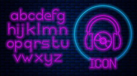 Glowing neon Headphones and CD or DVD icon isolated on brick wall background. Earphone sign. Compact disk symbol. Neon light alphabet. Vector Illustration