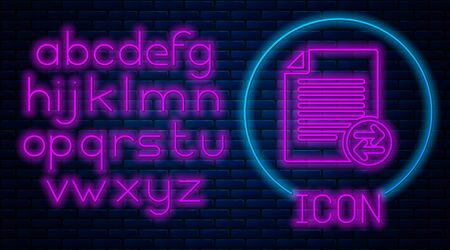 Glowing neon Transfer files icon isolated on brick wall background. Copy files, data exchange, backup, PC migration, file sharing concepts. Neon light alphabet. Vector Illustration