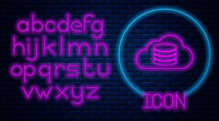Glowing neon Cloud database icon isolated on brick wall background. Cloud computing concept. Digital service or app with data transferring. Neon light alphabet. Vector Illustration