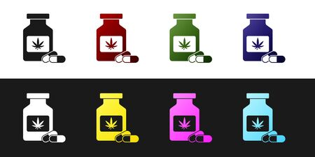 Set Medical bottle with marijuana or cannabis leaf icon isolated on black and white background. Mock up of cannabis oil extracts in jars. Vector Illustration Ilustração