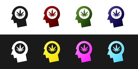 Set Silhouette of male head in profile with marijuana or cannabis leaf icon isolated on black and white background. Marijuana legalization. Hemp symbol. Vector Illustration Ilustração