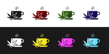 Set Cup tea with marijuana or cannabis leaf icon isolated on black and white background. Marijuana legalization. Hemp symbol. Vector Illustration
