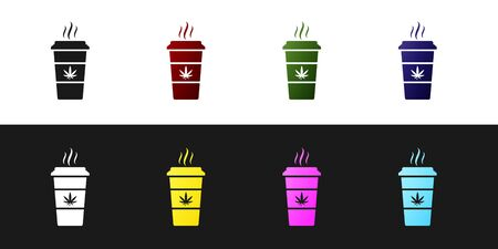 Set Cup coffee with marijuana or cannabis leaf icon isolated on black and white background. Marijuana legalization. Hemp symbol. Vector Illustration