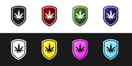 Set Shield and marijuana or cannabis leaf icon isolated on black and white background. Marijuana legalization. Hemp symbol. Vector Illustration