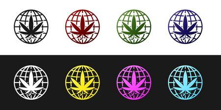 Set Legalize marijuana or cannabis globe symbol icon isolated on black and white background. Hemp symbol. Vector Illustration Standard-Bild - 128757492