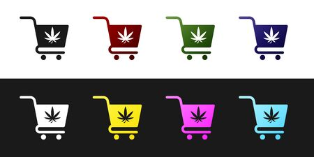 Set Shopping cart with marijuana or cannabis leaf icon isolated on black and white background. Online buying. Delivery service. Supermarket basket. Vector Illustration Ilustração
