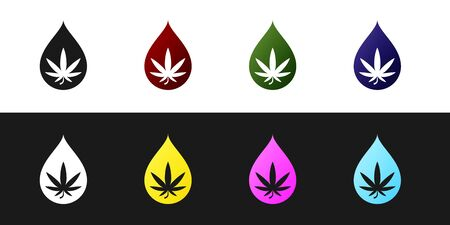 Set Medical marijuana or cannabis leaf olive oil drop icon isolated on black and white background. Cannabis extract. Hemp symbol. Vector Illustration
