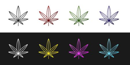 Set Medical marijuana or cannabis leaf icon isolated on black and white background. Hemp symbol. Vector Illustration Ilustração