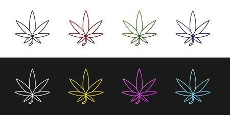 Set Medical marijuana or cannabis leaf icon isolated on black and white background. Hemp symbol. Vector Illustration Illustration