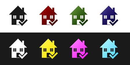 Set House with check mark icon isolated on black and white background. Real estate agency or cottage town elite class. Vector Illustration Standard-Bild - 128759818
