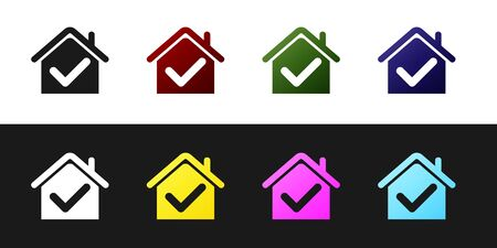 Set House with check mark icon isolated on black and white background. Real estate agency or cottage town elite class. Vector Illustration Standard-Bild - 128759816